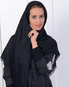 روسری حریر مشکی ساده